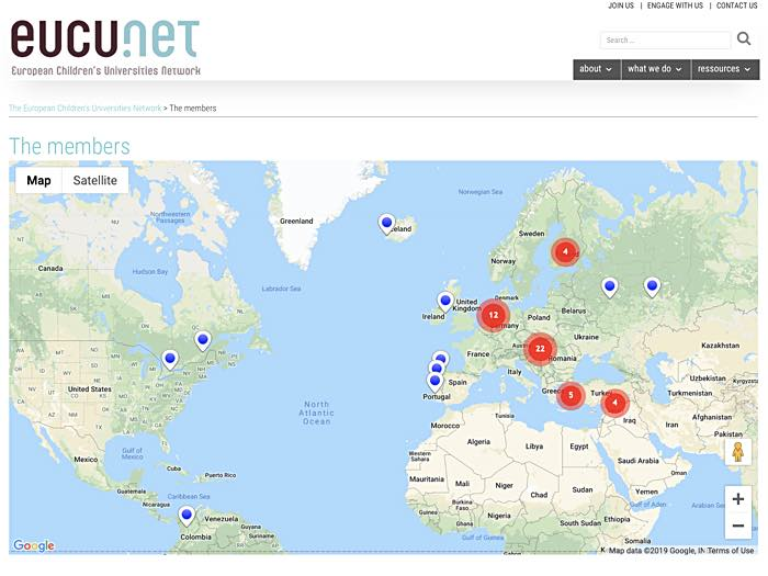 Member Map online - The European Children's Universities Network
